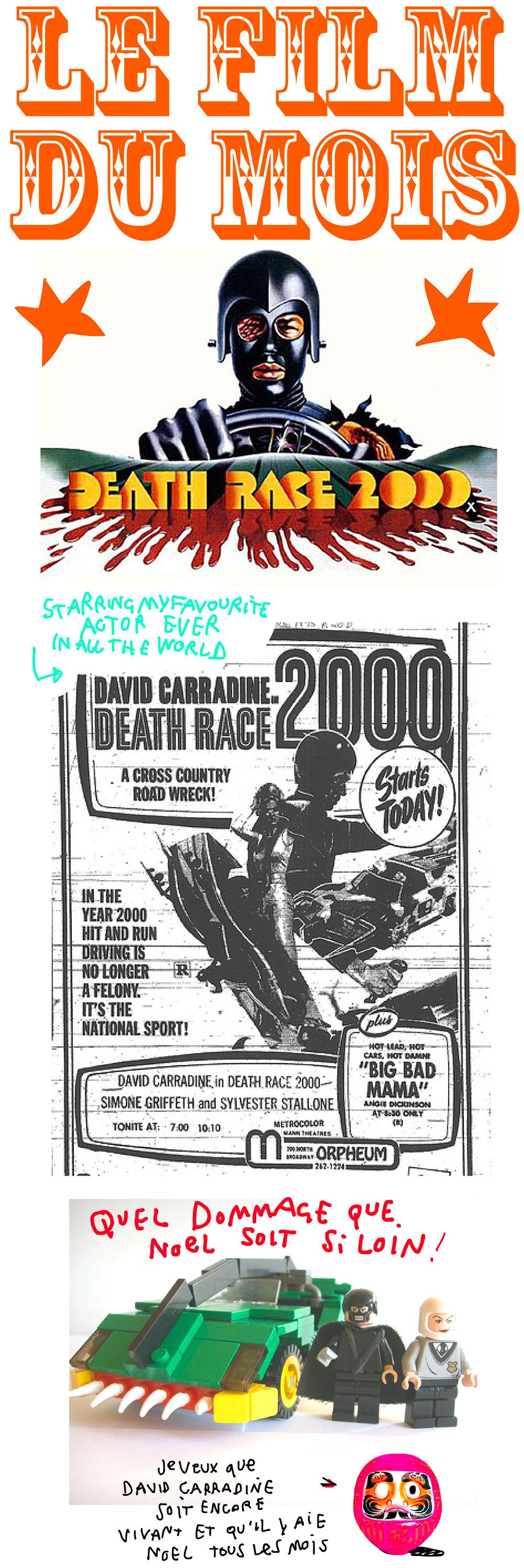 Un hommage à Death Race 2000 et à David Carradine mon acteur préféré