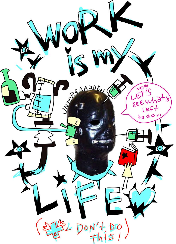 Le travail c'est la vie, dit un inconnu dans une cagoule de cuir